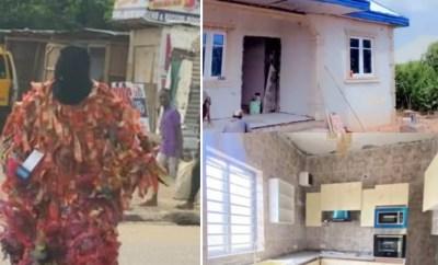 Comedian Egungun (Masquerade) expresses gratitude to God as he becomes a landlord of a five bedroom apartment (video)