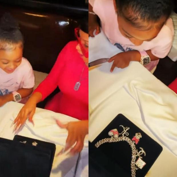 Cardi B gifts daughter, Kulture, a blinged-out charm necklace for her 3rd birthday after Offset gave the child a 0,000 Richard Mille watch (video)