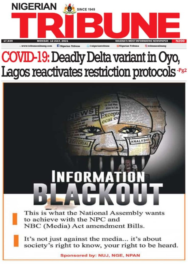 Information Blackout: Major Nigerian newspapers engage in joint front-page protest for press freedom (Photos)
