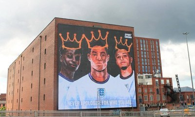Giant mural displayed in support of Marcus Rashford, Jadon Sancho and Bukayo Saka after the England stars were racially abused following final loss to Italy