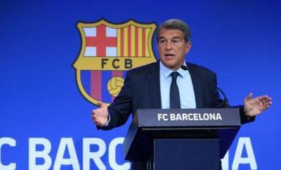 Barcelona president Laporta gives press conference