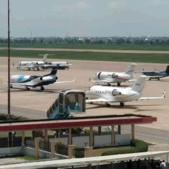 Check out the number of private jets at the Aminu Kano International airport for President Buhari