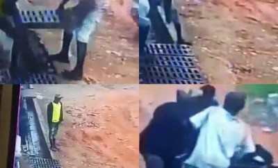 CCTV captures the moment young men carted away iron bars used to make a road accessible (video)
