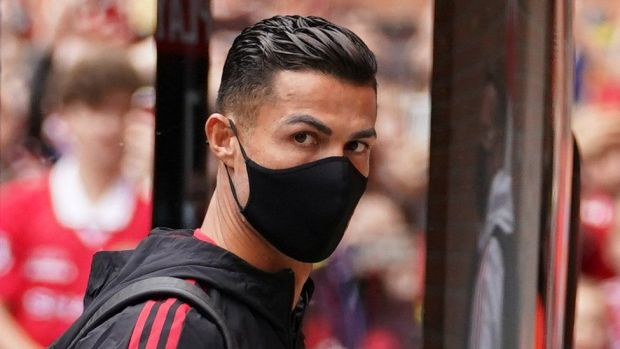 Cristiano Ronaldo arrives for the Premier League match at Old Trafford