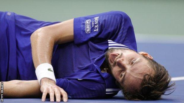 Daniil Medvedev celebrates winning the US Open
