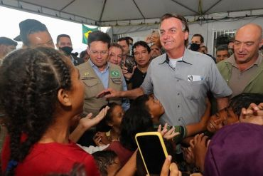 A handout photo made available by Agencia Brazil shows president of Brazil, Jair Bolsonaro, during his visit to the border with Venezuela in Boa Vista, Brazil 26 October 2021.