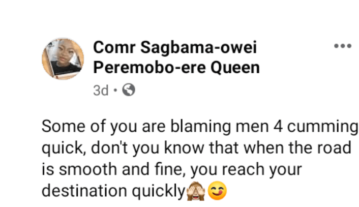 """""""When the road is smooth and fine you reach your destination quickly"""" - Nigerian lady addresses women blaming men for"""
