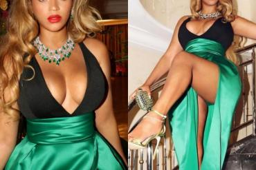Beyonce shows off her cleavage and thighs as she poses in low-cut black and green halter gown
