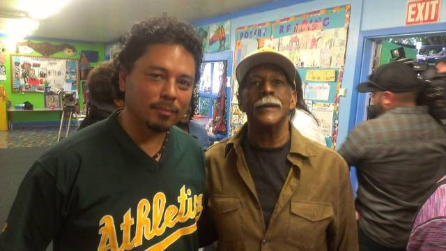 Greg Johnson of Marcus Books and Tony Robles, co-editor of POOR Magazine