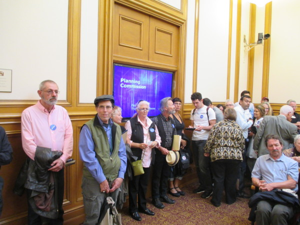 Supporters of Airbnb line up to testify in support of Chiu's bill