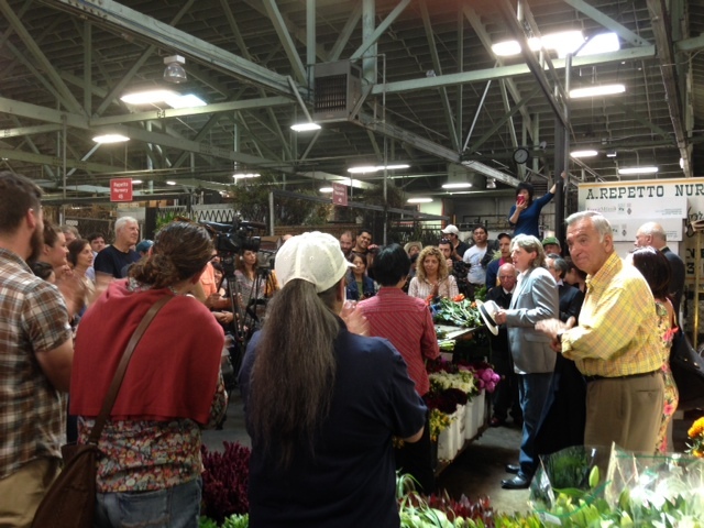 Former Mayor Art Agnos speaks at a rally to save the Flower Mart