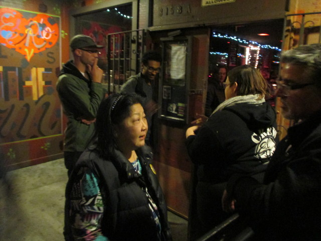 Rose Pak and John Avalos talk outside the Election Night party for David Campos for Assembly