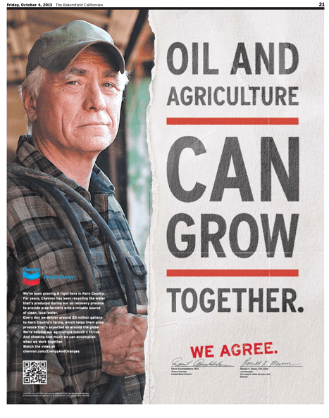 In this ad, Chevron brags about sending oil wastewater to farmers