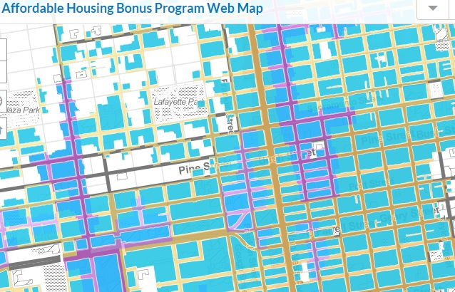 This snapshot of part of the Planning Department's map shows the wide swath of housing (in blue) that could be torn down and replaced with larger units