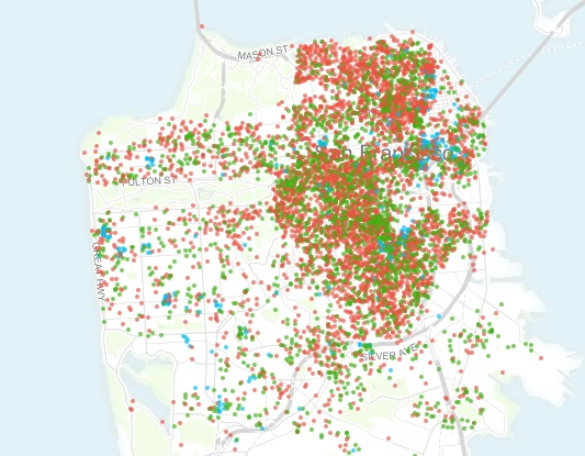 This map shows that most Airbnb rentals are entire houses, which means a lot of them are illegal