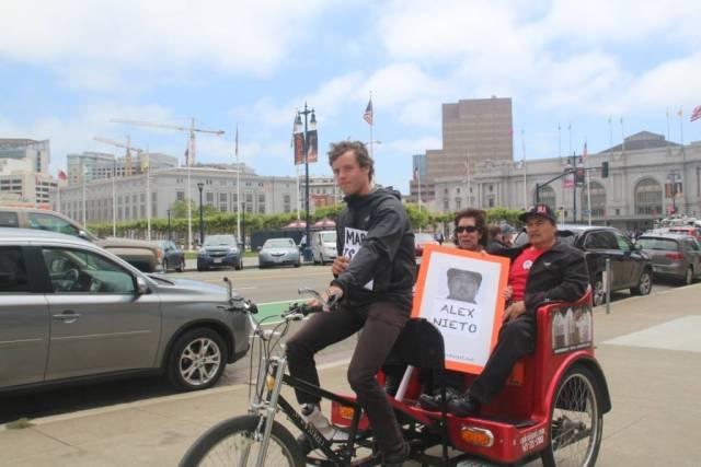 Elvira and Refugio Nieto in a Pedicab outside City Hall