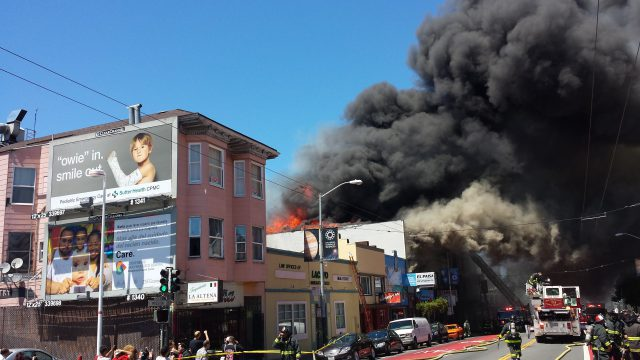 Flames roared out of the 300 block of Mission Street