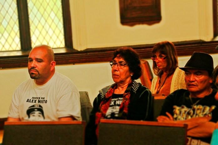 Elvira and Refugio Nieto sit alongside Oscar Salinas as they listen to Gongoras attorneys present evidence. Photo by Sana Saleem.