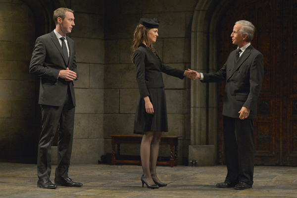 Prince William (Christopher McLinden) and Kate (Allison Jean White) greet King Charles III (Robert Joy) after the funeral of Queen Elizabeth in 'King Charles III'