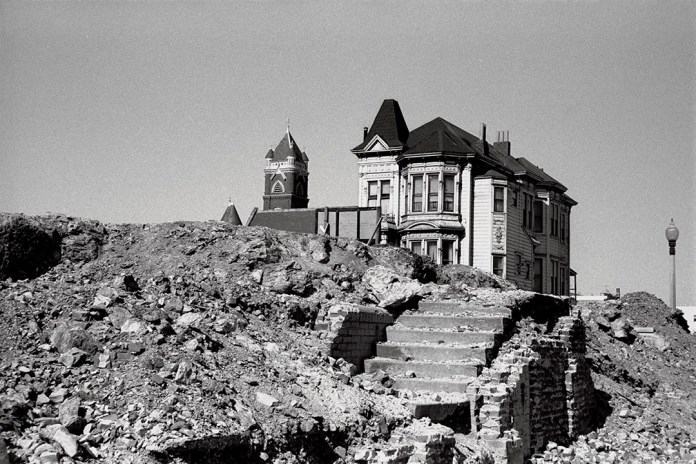 The Redevelopment Agency demolished housing in the Western Addition in the 1960 (photo SF Library)
