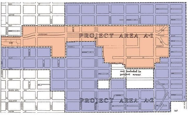 The Western Addition map showed where redevelopment was first targeted