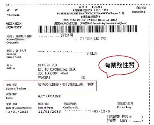 香港商業登記證如無業務性質會被罰款?