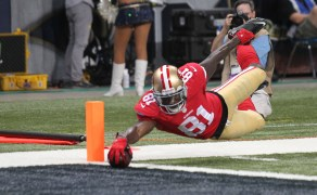 San Francisco 49ers Anquan Boldin just gets the football over the goal line for a touchdown in the second quarter against the St. Louis Rams at the Edward Jones Dome in St. Louis on September 26, 2013. UPI/Bill Greenblatt