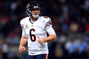 ST. LOUIS, MO - NOVEMBER 15: Jay Cutler #6 of the Chicago Bears looks toward the sideline between plays in the first quarter against the St. Louis Rams at the Edward Jones Dome on November 15, 2015 in St. Louis, Missouri. (Photo by Dilip Vishwanat/Getty Images)