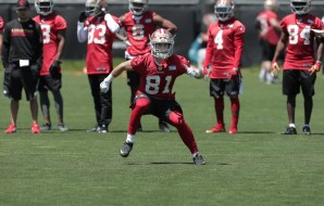 Wide receiver Trent Taylor, 81 runs drills during the San Francisco 49ers rookie mini-camp at their practice facility near Levi's Stadium in Santa Clara, Ca., on Friday May 5, 2017.