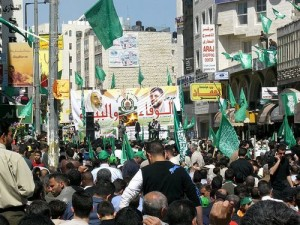 A pro-Hamas rally in Ramallah. Photo: Wikimedia Commons.