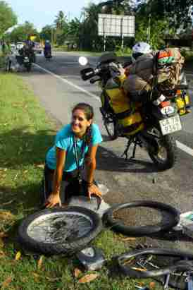 Malaysia-Shan loving a puncture repair