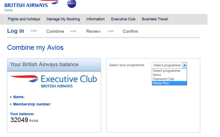 British Airways Combine My Points