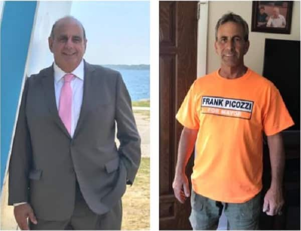 Independent Frank Picozzi, right, has won his challenge of Mayor Joseph Solomon, left, in this year's mayoral race. [Images from Facebook; composite graphic by Joe Hutnak]