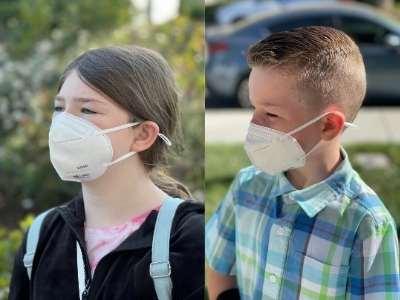 kids wearing nano masks