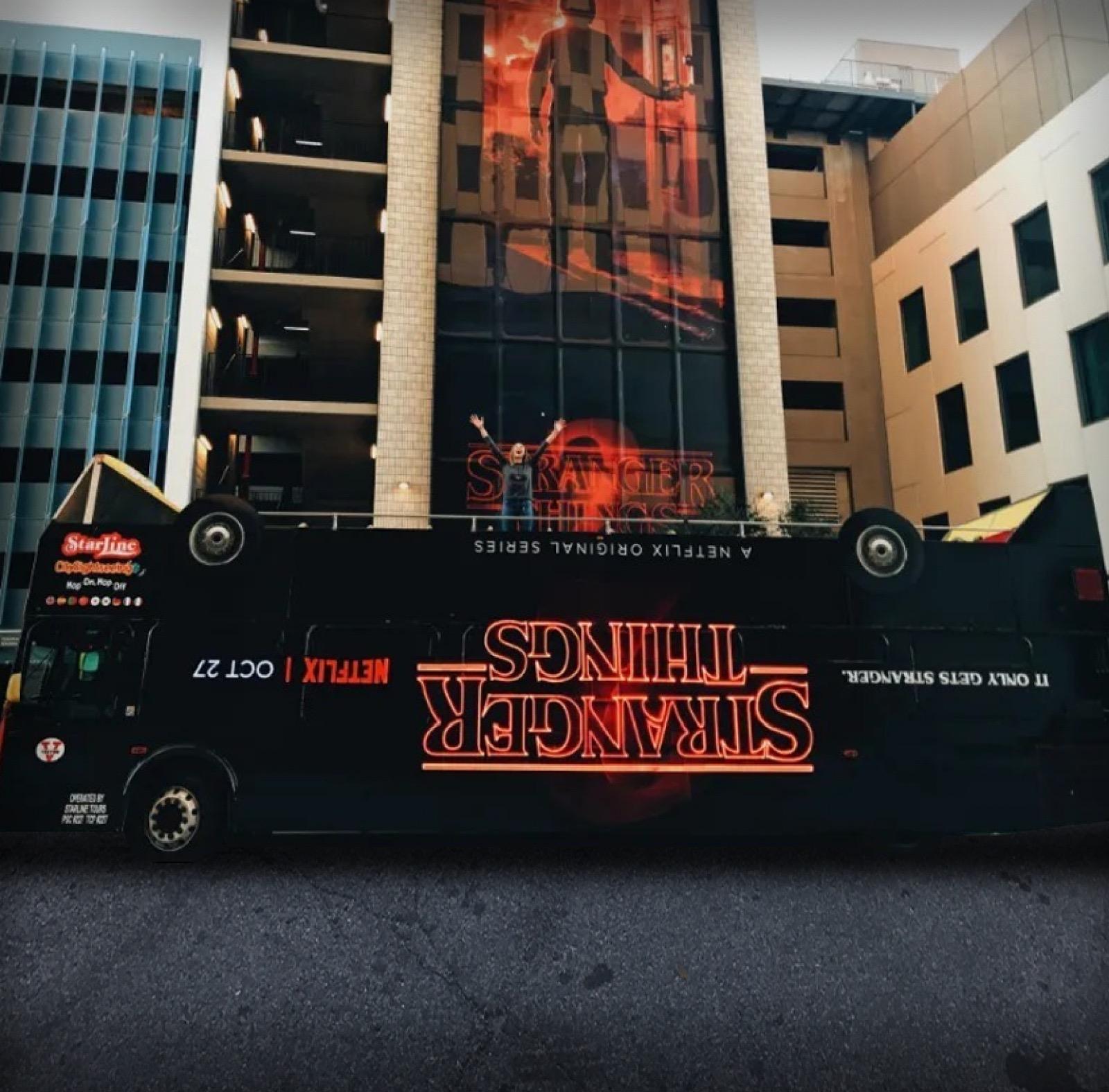 Netflix Stranger Things Season 2 bus in Los Angeles