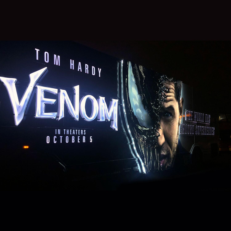 Venom movie illuminated bus