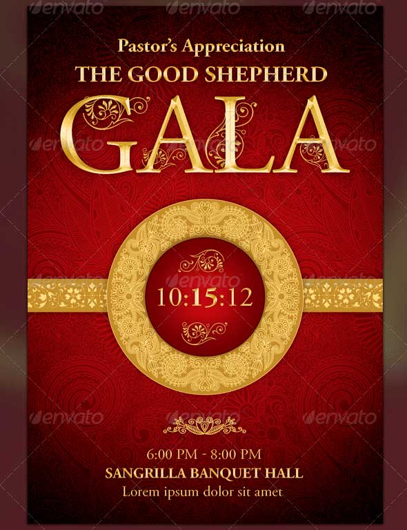 Pastor's Appreciation Gala Church Flyer & Ticket