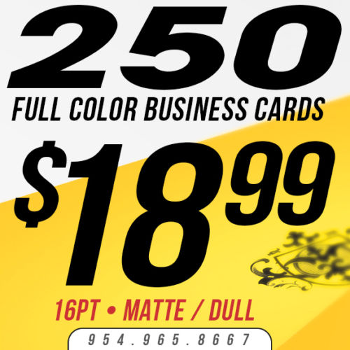 250 Custom Business Cards Printing - 16pt - Matte/Dull