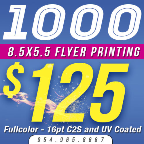 Custom FLYER Printing - 8.5x5.5 - Quantity 1,000 - Color - 16pt Stock - Glossy