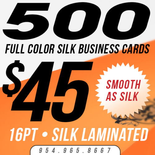500 Custom Full Color SILK BUSINESS CARD Printing - 16pt Smooth Laminated Stock