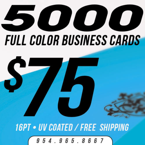 5000 Custom Business Cards Printing - 16pt UV Gloss! - Full Color