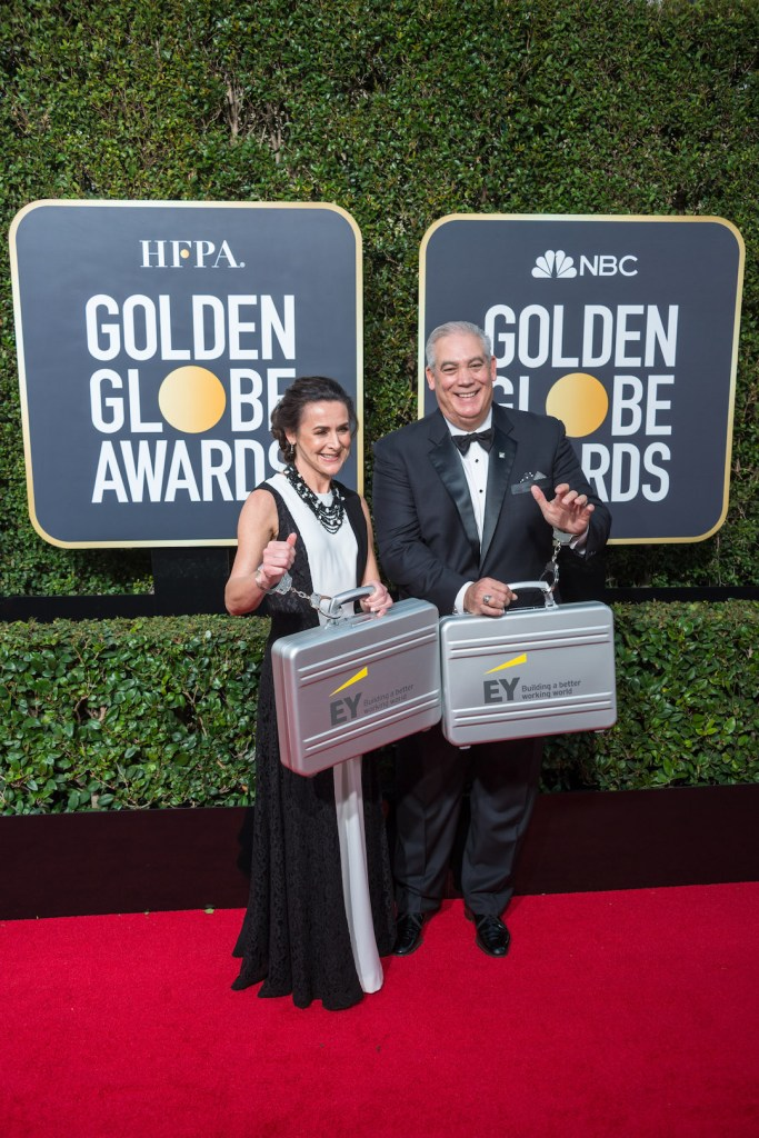 Ernst and Young arrive at the 75th Annual Golden Globe Awards