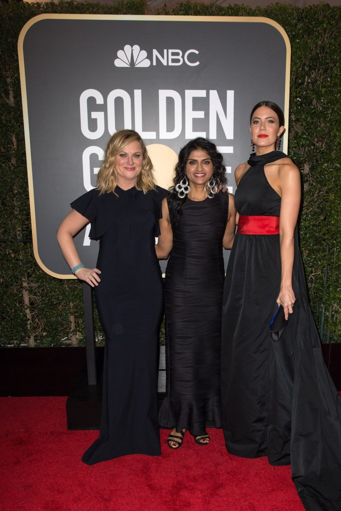 Amy Poehler, Saru Jayaraman and Mandy Moore arrive at the 75th Annual Golden Globe Awards 4chion lifestyle