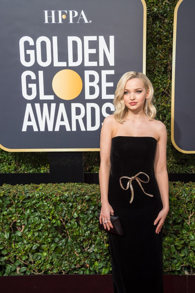 Dove Cameron arrives at the 75th Annual Golden Globes Awards 4chion lifestyle