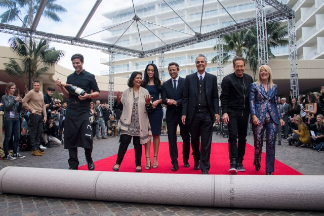 Moet Ambassador Charlie Farrell, HFPA President Meher Tatna, Golden Globe Ambassador Simone Garcia Johnson, host Seth Meyers, Dick Clark Productions CEO Allen Sharpiro, Producer Barry Adelman and Bevery Hills Mayor Lili Bosse at the Red Carpet Rollout for the 75th Golden Globe Awards 4chion lifestyle