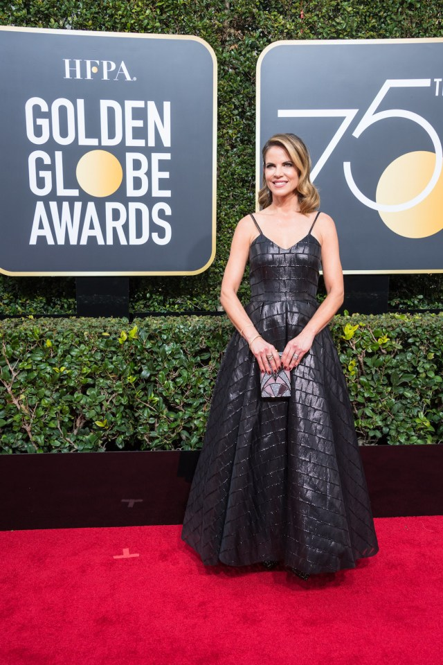 Natalie Morales arrives at the 75th Annual Golden Globes Awards 4chion lifestyle