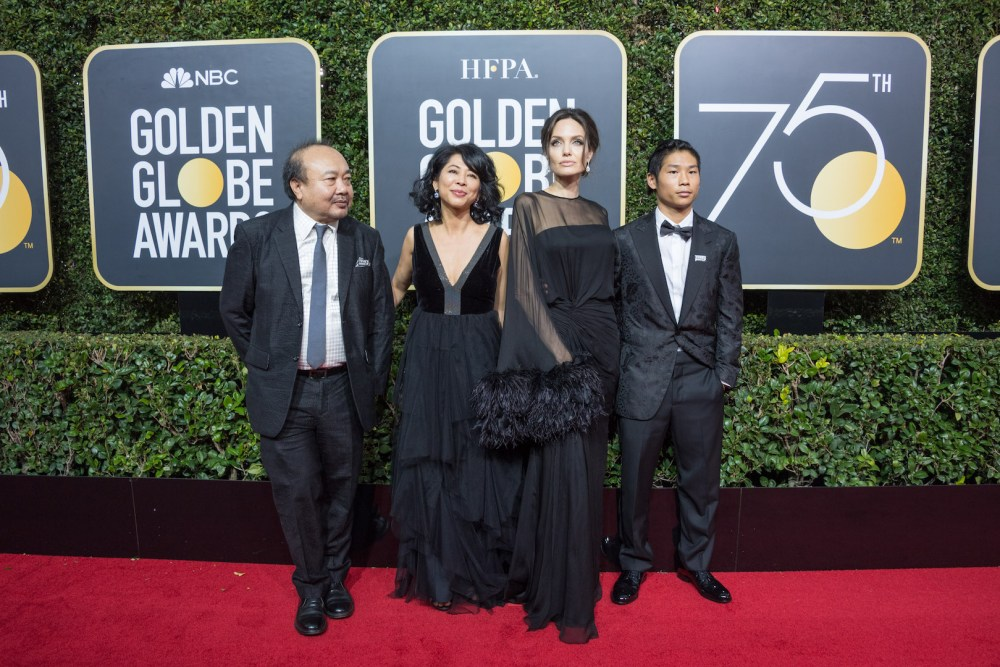 Rithy Panh, Loung Ung, Angelina Jolie, arrive at the 75th Annual Golden Globe Awards 4chion lifestyle