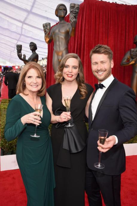 l-r_screen_actors_guild_awards_producer kathy connell champange vitalie taittinger actor glen powell Celebration SAG Nominees 4chion lifestyle