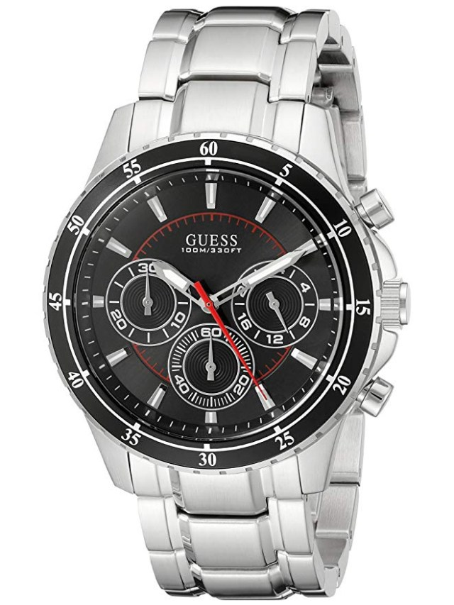GUESS Factory Men's Silver-Tone Multifunction Watch Amazon Holiday ads chion lfiestyle