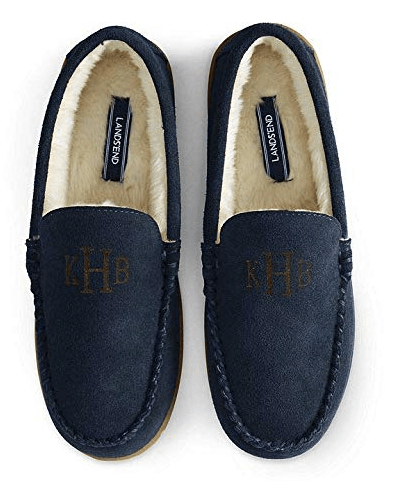 Lands' End Men's Suede Moc Slippers Faux Fur amazon holiday ad 4chion lifestyle